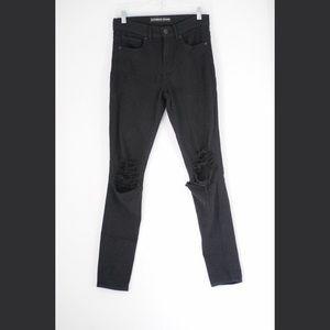Distressed high rise black legging